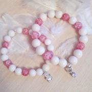 Комплект браслетов для мамы и дочки из сахарного кварца, серебра 925 пробы и агата